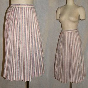 Vintage 50s 60s Pleated Skirt Pink Blue Day Skirt